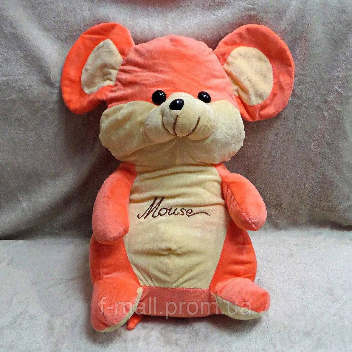Плед мягкая игрушка 3 в 1 Мышка Mouse кораллово - бежевая (81)