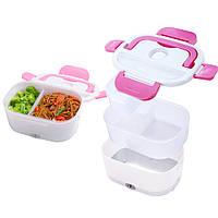Ланч-бокс с подогревом от сети 220V Розовый Electric lunch box Контейнер для еды судок для обедов