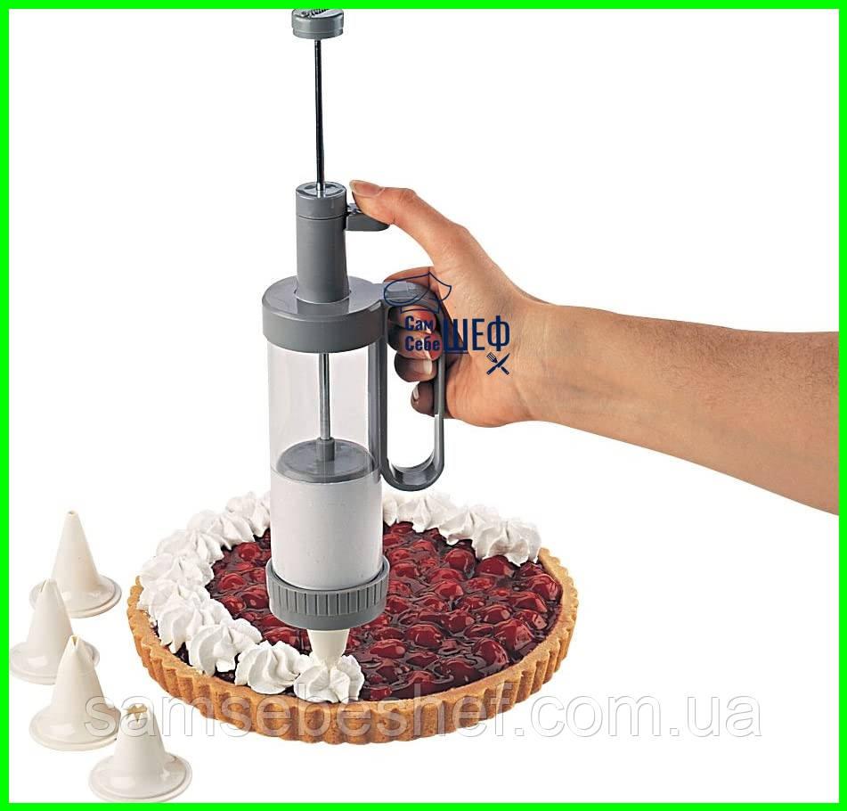 Кондитерский шприц для украшения десертов с насадками Family Kitchen