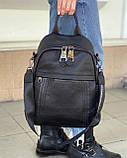 Женский кожаный рюкзак magic bag черный, фото 4