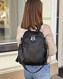 Женский кожаный рюкзак magic bag черный, фото 3
