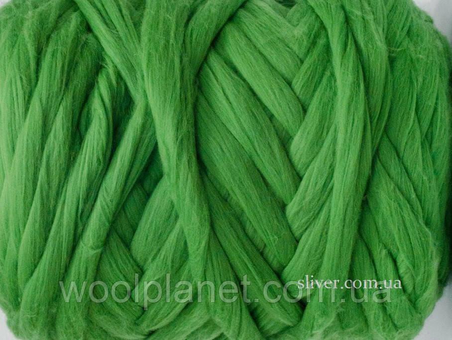 Толстая, крупная пряжа для пледов, кардиганов. 100% мериносовая шерсть  в ленте для вязания.Травянистый.
