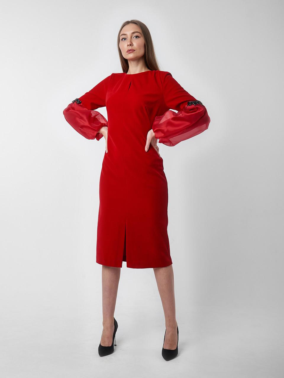 Нарядное красное платье миди. Турция