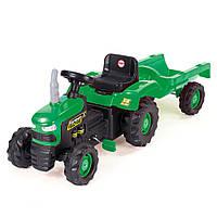 Трактор на педалях DOLU з причіпом Зелений з чорним 8053, КОД: 1805867