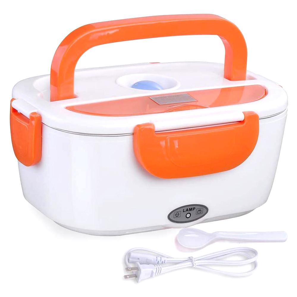 Ланч-бокс з підігрівом від мережі 220V Помаранчевий Electric lunch box Контейнер для їжі судок для обідів