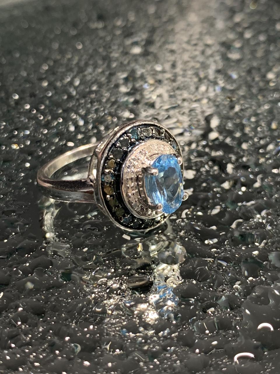 Серебряное кольцо с аквамарином и камнями шпинель   Наслаждение