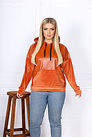 Женский свитшот из эко-кожи с велюровыми вставками батал, фото 1