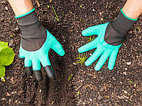 Перчатки садовые когти для сада и огорода Garden Genie Gloves Бирюзовые 20053100045, КОД: 1821732