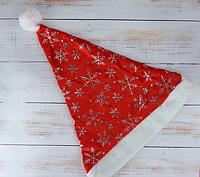 Шапка Деда Мороза со снежинками  Только по 12 штук, фото 1