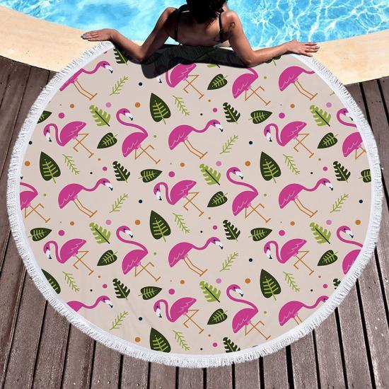 Пляжный коврик Фламинго и листья Розовый (kj123289)