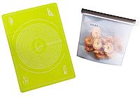 Комплект антипригарный коврик VOLRO для выпечки, раскатки теста Розовый и силиконовый пищевой суд, КОД: