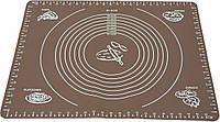 Силиконовый антипригарный коврик для выпечки и раскатки теста 50x40 см Коричневый vol-655, КОД: 1918300