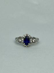 Серебряное кольцо с синим и белым сапфиром   Снежная Королева