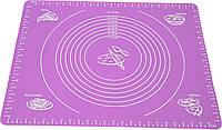 Силиконовый антипригарный коврик для выпечки и раскатки теста 50x40 см Фиолетовый n-656, КОД: 1918229