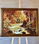 Большая картина пейзаж из янтаря «Горная осенняя река» 60x80 см, фото 2