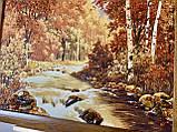 Большая картина пейзаж из янтаря «Горная осенняя река» 60x80 см, фото 4