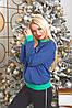 Батник трикотажний з новорічним принтом, жіночий синій, розміри від 44 до 56, подарунок на новий рік, фото 4