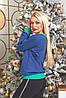 Батник трикотажний з новорічним принтом, жіночий синій, розміри від 44 до 56, подарунок на новий рік, фото 5