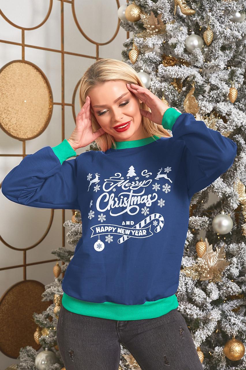 Батник трикотажний з новорічним принтом, жіночий синій, розміри від 44 до 56, подарунок на новий рік