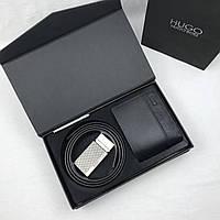 Кошелек и ремень комплект подарок мужской черный брендовый от Хьюго Босс