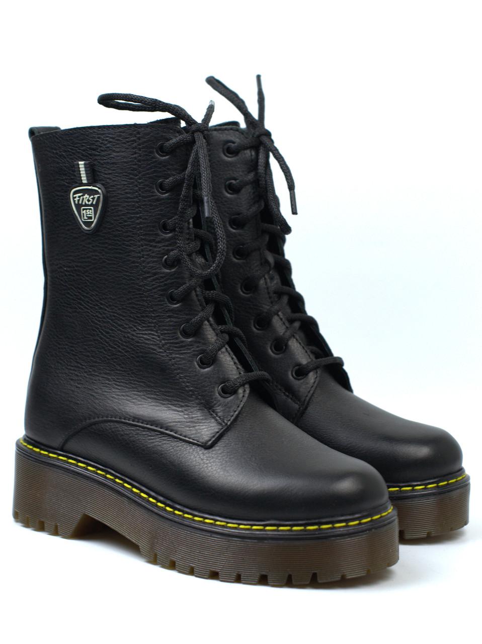 Жіночі зимові черевики на платформі з хутром шкіряне взуття Rosso Avangard Marty