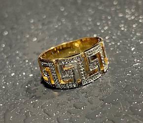 Серебряное кольцо в позолоте с бриллиантами  Откровение