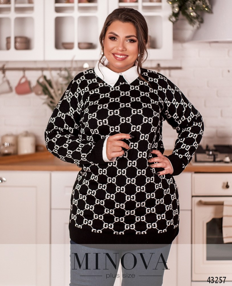 Женский свитер с принтом и с мягкими манжетами размер 50-56