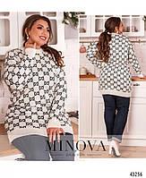 Женский свитер с принтом и с мягкими манжетами размер 50-56, фото 3