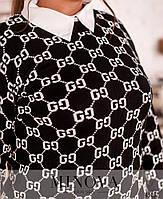 Женский свитер с принтом и с мягкими манжетами размер 50-56, фото 6