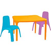 Детский стол для творчества + 2 стула Разноцветные 18-100-13, КОД: 1130266