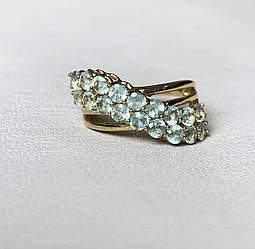 Серебряное кольцо в позолоте с топазами  Океан
