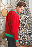 Батник трикотажний з новорічним принтом, чоловічий червоний, розміри від 48 до 54, подарунок на новий рік, фото 3