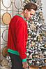 Батник трикотажный с новогодним принтом, мужской красный, размеры от 48 до 54, подарок на новый год, фото 3