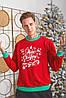 Батник трикотажний з новорічним принтом, чоловічий червоний, розміри від 48 до 54, подарунок на новий рік, фото 4