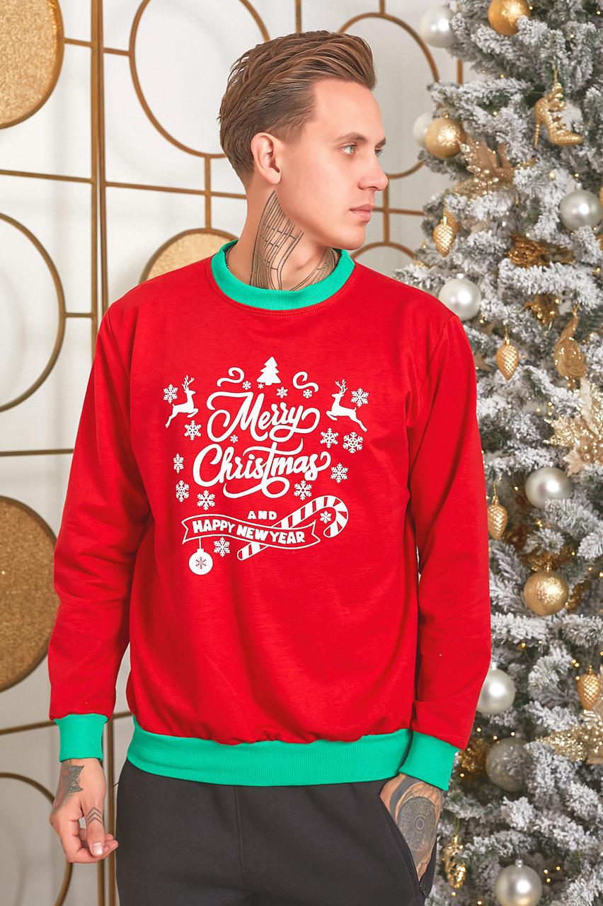 Батник трикотажний з новорічним принтом, чоловічий червоний, розміри від 48 до 54, подарунок на новий рік