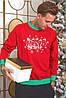Батник трикотажний з новорічним принтом, чоловічий червоний, розміри від 48 до 54, подарунок на новий рік, фото 5
