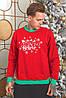 Батник трикотажний з новорічним принтом, чоловічий червоний, розміри від 48 до 54, подарунок на новий рік, фото 2