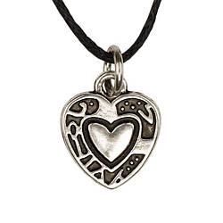 Кулон Сердце Талисман Любви Металл с посеребрением 1,5х1,2х0,1 см Серебристый 20351, КОД: 1737779