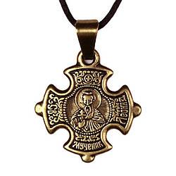 Крест нательный криновидный Леонид Святой мученик Леонид Коринфский Металл медненный 3х2х0,2 см 1, КОД: