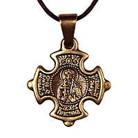 Крест нательный криновидный Кристина Святая мученица Христина Тирская Металл медненный 3х2х0,2 см, КОД: