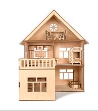"""Подарочный кукольный домик из дерева, подарок на день Святого Николая, с пристройкой """"MODERN HOUSE"""" 56*66*50см"""
