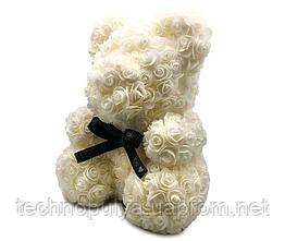 Мишка из 3D роз  Jellys Белый Фоамиран 45 см  (М8)