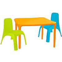 Детский стол для творчества + 2 стула Разноцветные 18-100-11, КОД: 1130264