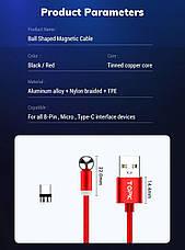 Магнитный кабель для зарядки Topk microUSB 1m 2.4A 360° Красный (TK28U-VER2-RD), фото 3