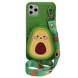 Чехол для Apple iPhone 11 Pro Phenix 3D PHENIX силиконовый с карманом на шнурке Green Avocado 001, КОД: