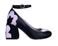 Туфли Сristani каблук с цветком 37 Черные 50962 37, КОД: 150168