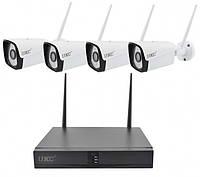 Комплект видеонаблюдения беспроводной DVR регистратор 4-канальный и 4 камеры HLV Full HD Wi-Fi Ki, КОД:
