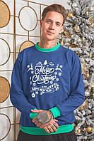 Батник трикотажный с новогодним принтом, мужской синий, размеры от 48 до 54, подарок на новый год