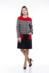 Женское пальто ORIGA Миранда 48 Гранатово-черный клетка 02MRND-черн-гран-кл48, КОД: 2375197