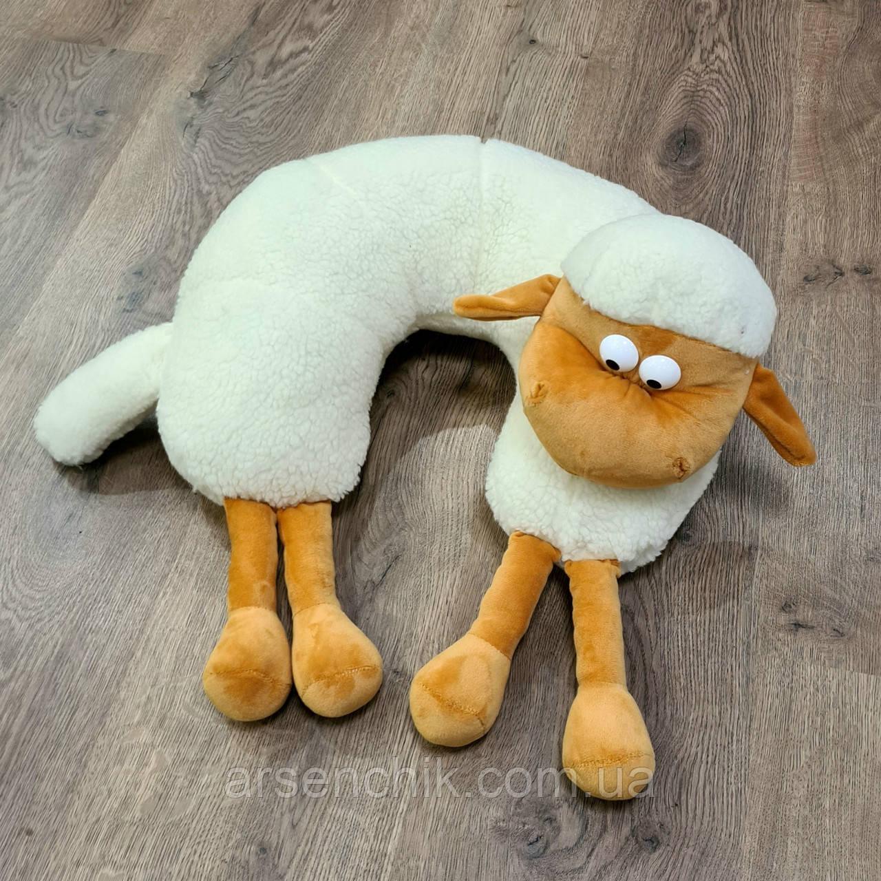 """Игрушка-подушка рогалик из овчины """"Барашек Шон"""""""